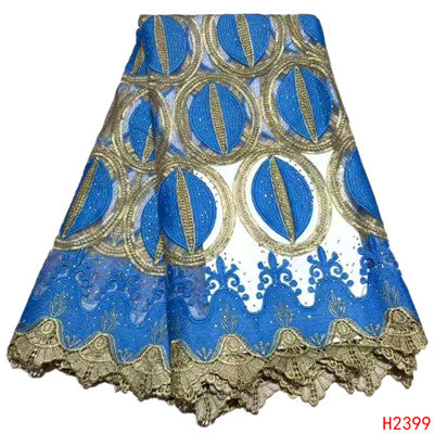 Image of 2019 Latest Design Tulle Lace Fabric Beaded French Lace Blue Nigerian Lace Fabric For Women Party Dress HX2399