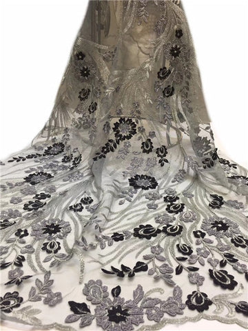 Image of 2019 Latest French Nigerian Lace Fabric High Quality Embroidered Tulle African Laces Fabric Wedding French Tulle Lace  ZXAU311