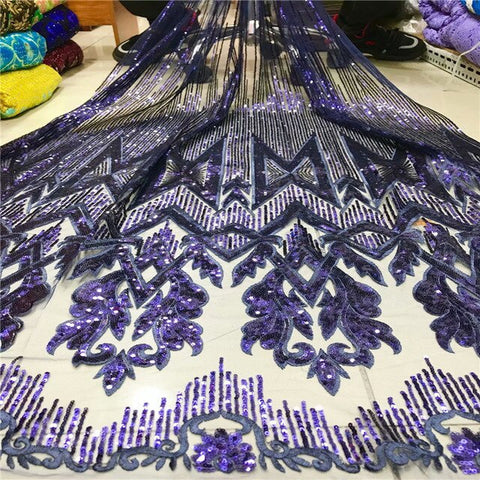 Image of 2019 Latest Lake blue French mesh lace High Quality African Lace Fabric Nigeria Embroidered Tulle Lace Fabric For Wedding 5yards