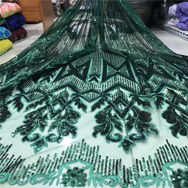 2019 Latest Lake blue French mesh lace High Quality African Lace Fabric Nigeria Embroidered Tulle Lace Fabric For Wedding 5yards