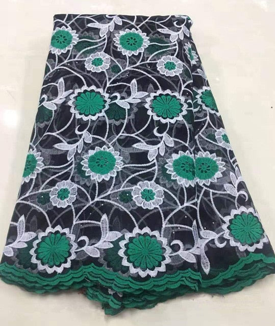 2019 Latest Nigerian Laces Fabrics High Quality African Embroidered Cord Laces Fabric for Wedding Dress French Black Tulle Lace