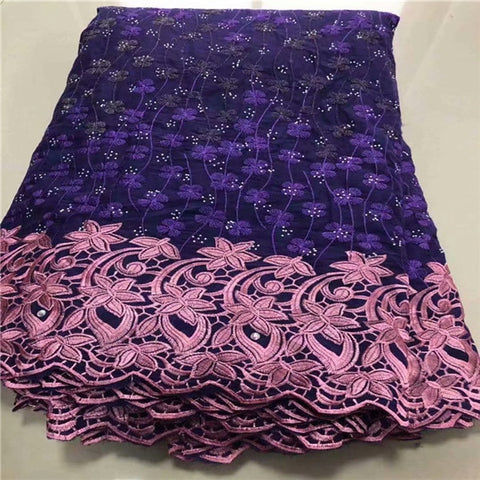 Image of 2019 Latest Swiss voile Lace Fabric 100% Cotton Embroidery High Quality African French Cotton Laces Fabrics 5 yards For wedding