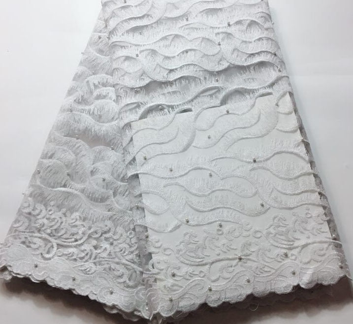 2019 Latest white French Nigerian Lace Fabrics High Quality Tulle African Laces Fabric Wedding African French Tulle Lace FLM035