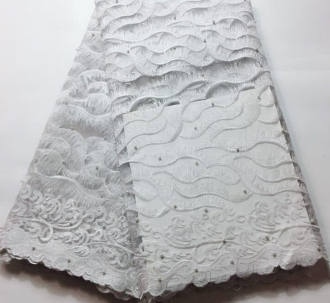 Image of 2019 Latest white French Nigerian Lace Fabrics High Quality Tulle African Laces Fabric Wedding African French Tulle Lace FLM035