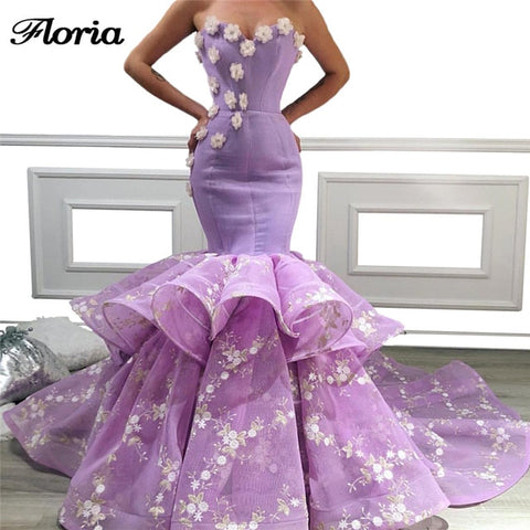 2019 Lilac Mermaid Evening Dresses Robe de soiree Turkish African Long Aibye Prom Dress Islamic Dubai Party Gowns Custom Made