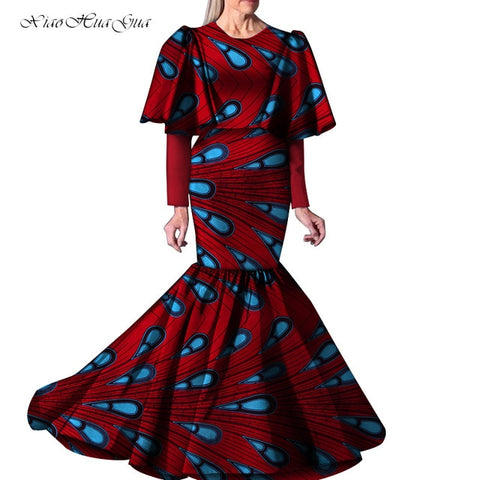 Image of 2019 New African Dresses for Women Party Wedding Casual Date Dashiki African Ladies Ankara Long Mermaid Dress Plus Size WY5263