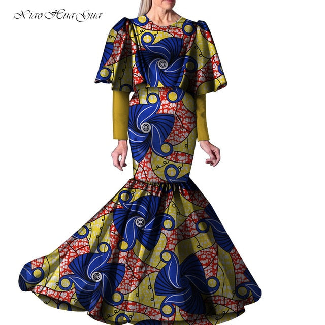 2019 New African Dresses for Women Party Wedding Casual Date Dashiki African Ladies Ankara Long Mermaid Dress Plus Size WY5263