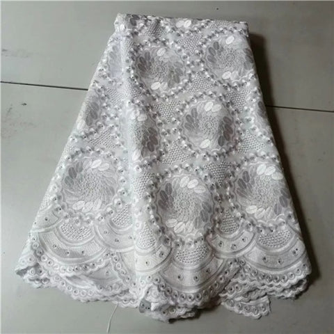 Image of 2019 New Design African Dry Lace High Quality Cotton Fabrics Lace Fabric Swiss Voile Lace Stones In Switzerland PL063101