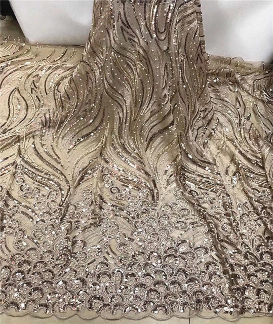 2019 New Design African Lace Fabric High Quality French Beads Embroidered Tulle Lace Fabric with Sequins FJA21-3