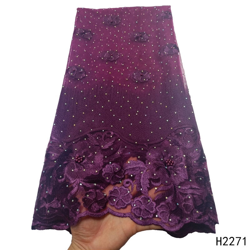 2019 New Design Tulle Lace Fabric Beaded Embroidered Purple French Lace Fabric For Women Wedding Party Dress  HX2271