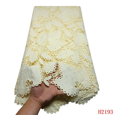 2019 New Design Water Soluble Lace Beaded Nigerian African Hot Selling Guipure Lace Fabric For Clothing Women/Men HX2193