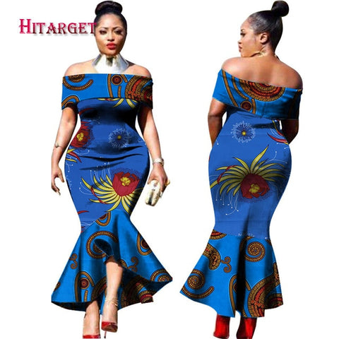 Image of 2019 New Fashion Design Traditional African Clothing Print Dashiki Slash Neck African Mermaid  Sexy Dresses for Women WY2348