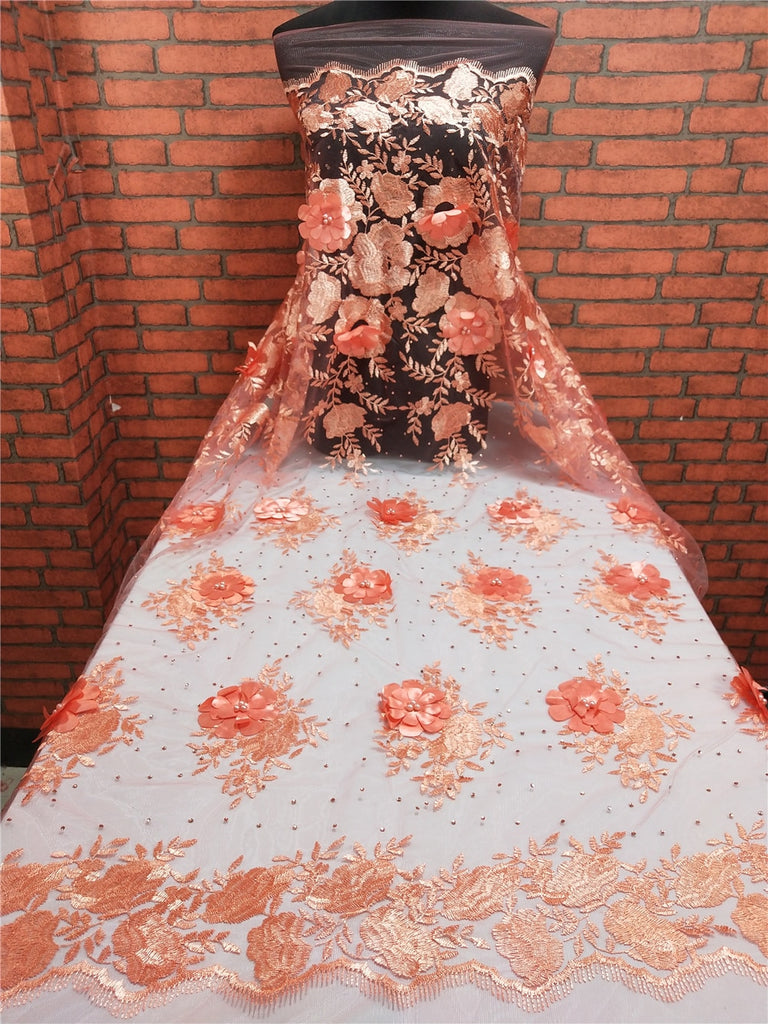 2019 New Style Peach French Net Lace Fabric 3D Flower African Tulle Mesh Lace Fabric High Quality Nigerian Lace Fabrics