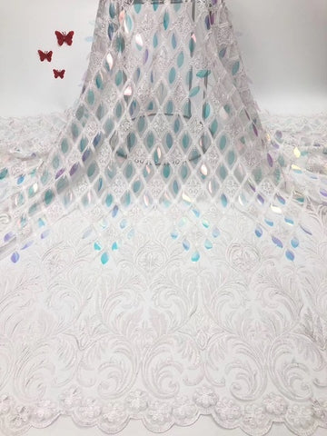 Image of 2019 Nigerian High Quality Wedding Lace African Lace Fabric Dubai Bridal Tulle French Cord Lace Fabric for 5Yards