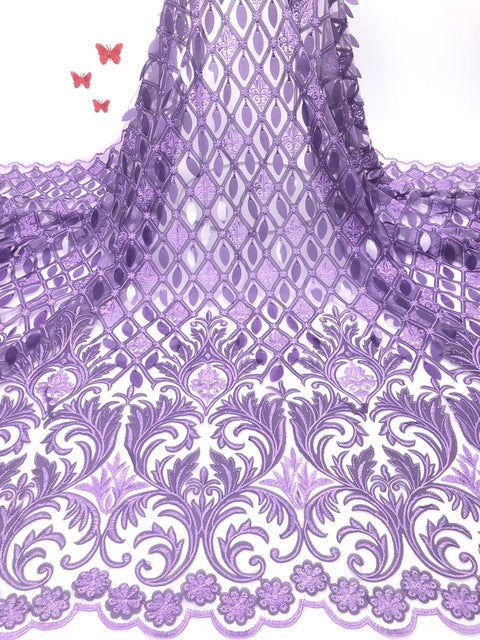 2019 Nigerian High Quality Wedding Lace African Lace Fabric Dubai Bridal Tulle French Cord Lace Fabric for 5Yards