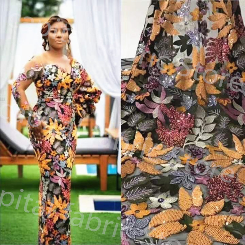 2019 Sunny top sale Nigeria lace fabric African lace fabric multicolor French sequines lace fabric  for evening dress