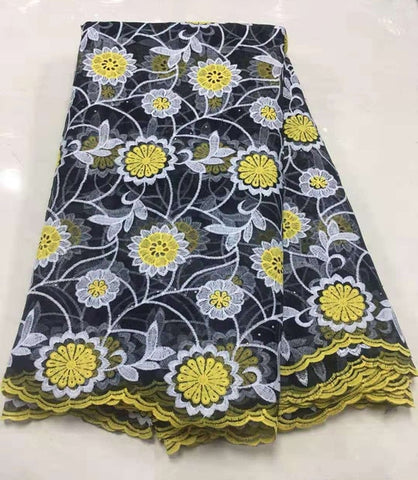 Image of 2019 Yellow Embroidered African Cord Laces Fabrics with Sequins High Quality Nigerian Bead Lace Fabric for France Lace Party