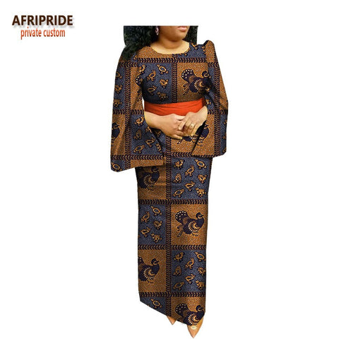 Image of 2019 spring african style straight dress for women AFRIPRIDE cloak sleeve o-neck ankle length casual women cotton dress A1825026