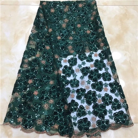 2019New Africa Tulle Lace Fabric High Quality Africa velvet Lace With Sequins Fabric Nigeria Mesh Fabric Used for party dresses