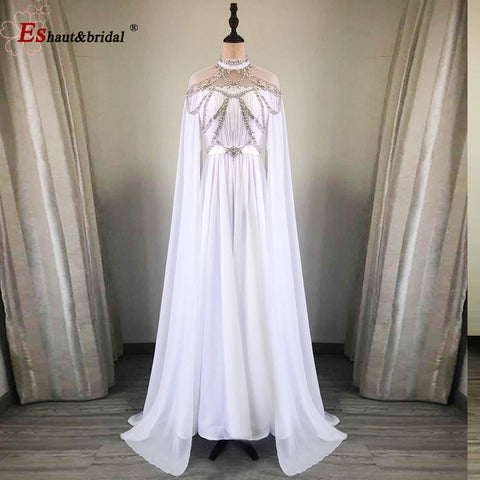 Image of 2020 Dubai Aline Crystal Handmade Chiffon Evening dress High Neck Long Arabic Prom Formal Gowns