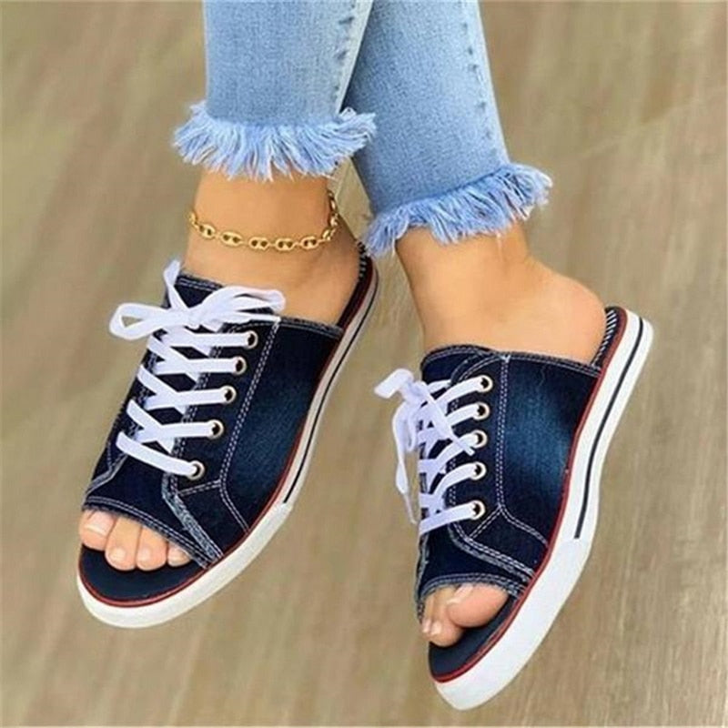 2020 Fashion Women Canvas Sandals Breathable Summer Slippers Lace Up Open Toe Ladies Faux Denim Flat Shoes Zapatos Mujer