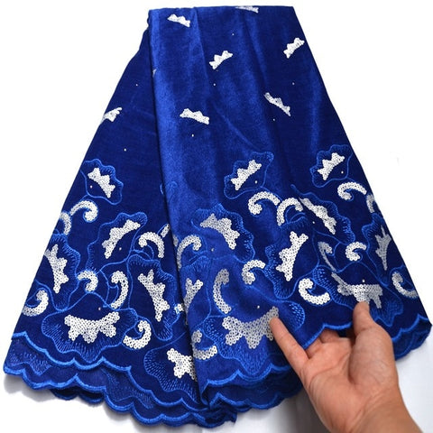 Image of 2020 Latest Design Blue Velvet Lace Fabric High Quality French Lace With Sequins fabric For Party Dress