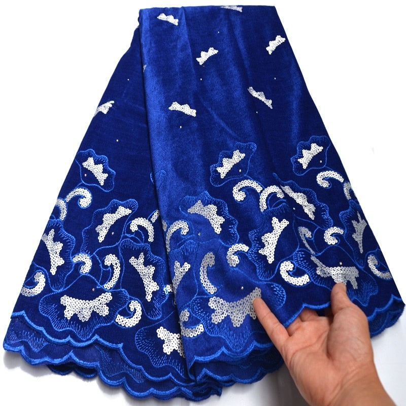 2020 Latest Design Blue Velvet Lace Fabric High Quality French Lace With Sequins fabric For Party Dress