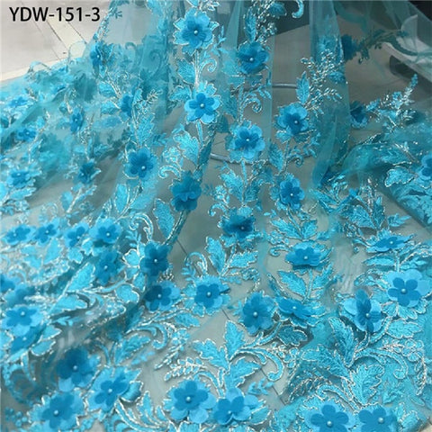 Image of 2020 Latest French Nigerian Laces Fabrics High Quality Tulle 3d Flower Lace Fabric with Beaded for Wedding YDW-151