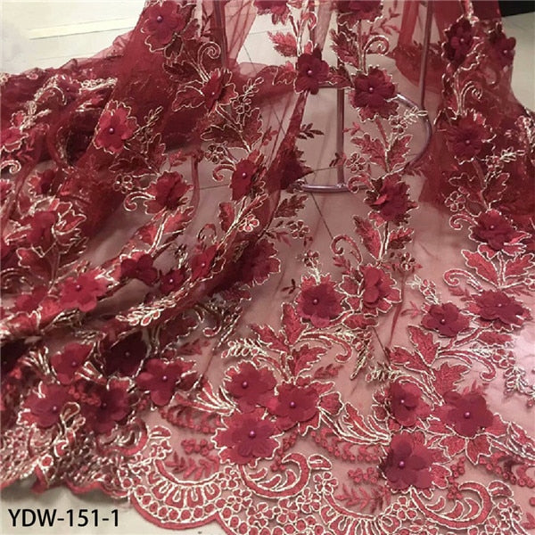 2020 Latest French Nigerian Laces Fabrics High Quality Tulle 3d Flower Lace Fabric with Beaded for Wedding YDW-151