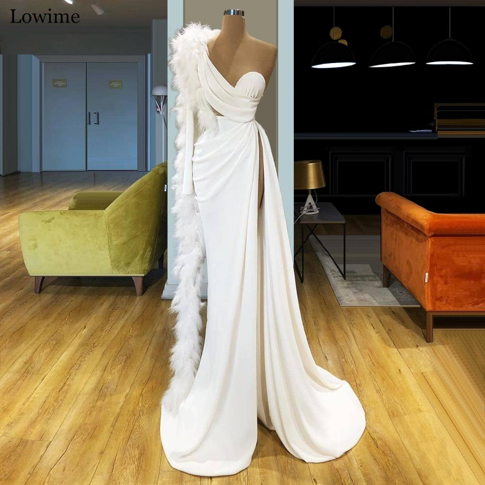 2020 Modest Muslim One Shoulder Celebrity Dress Mermaid Spandex Feathers Prom Dress Long Dubai Evening Dress Robe De Soiree