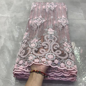 2020 New Design African Lace Fabric High Quality Heavy Beaded Sequins Embroidery French Nigerian Tulle Lace Fabric for wedding