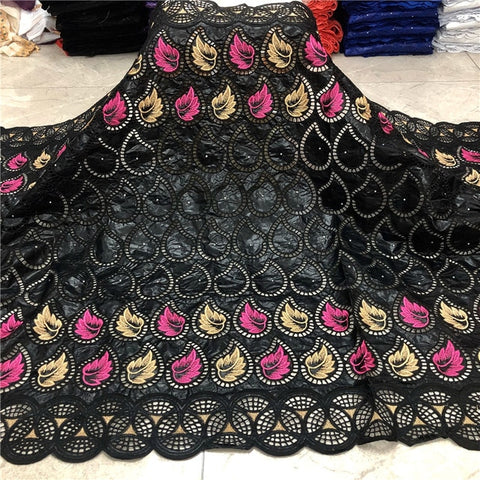2020 New arrival  african Bazin riche fabric with beads embroidery lace / bazin riche dress material Nigerian HZ060503