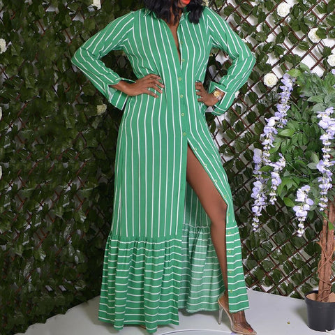2020 Women Long Shirt Dress Summer Turn Down Collar Long Sleeve Office Ladies Green Striped Maxi Ruffle Dresses Casual Vestido