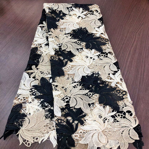Image of 2020 latest guipure lace very beautiful big flowers water soluble chemical lace fabric,high quality african cord lace 5 yards