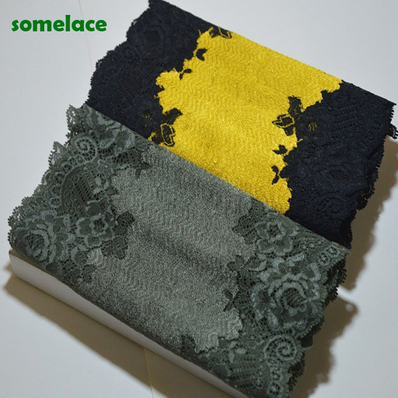 2Yds 20cm Wide Fluorescence Green~Gold Damask Stretch Lace Trim Elastic Lace Bridal Belt Headwear Garment Springy Lace Fabric