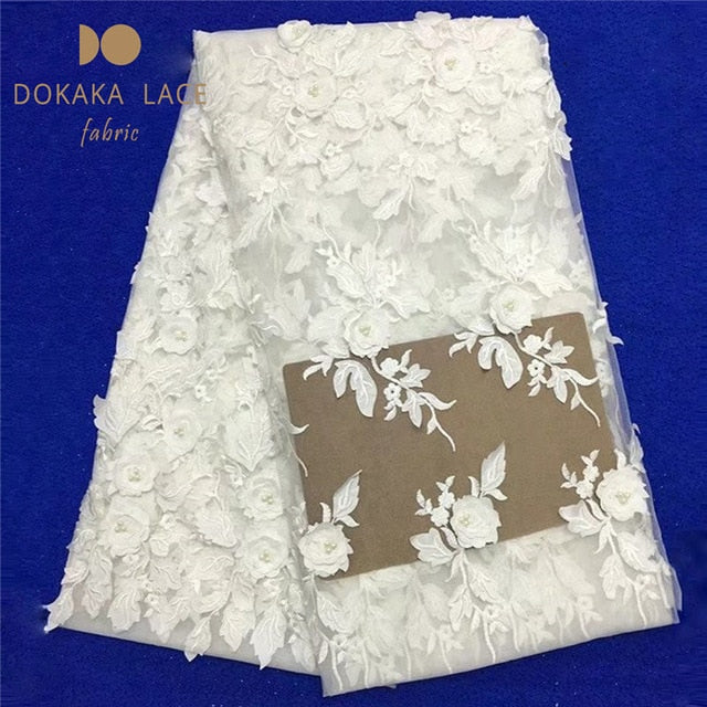 3D Flower Style!! African Applique Beads Lace Fabric Nigerian Beaded Embroidered Mesh Tulle With 3D Flower Guipure Dresses Laces