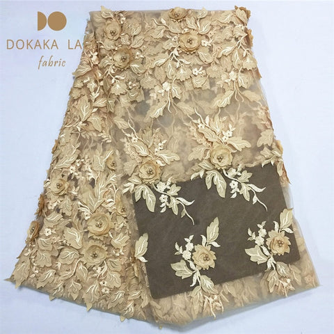 Image of 3D Flower Style!! African Applique Beads Lace Fabric Nigerian Beaded Embroidered Mesh Tulle With 3D Flower Guipure Dresses Laces