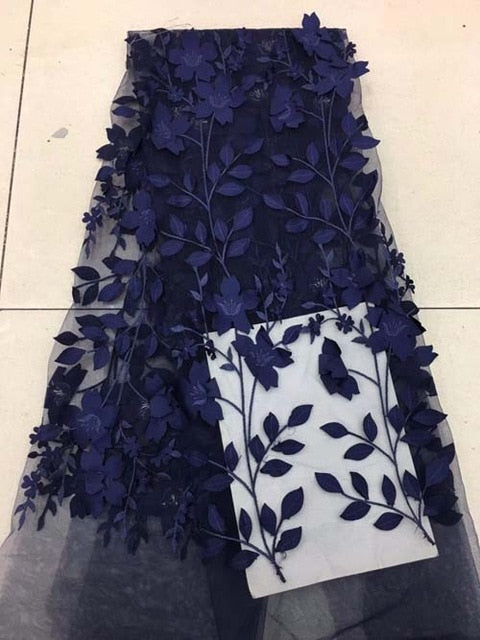 3D Lace Fabric 2018 High Quality Embroidered tulle Pattern Fabric 5yard/Lot African Lace Fabric