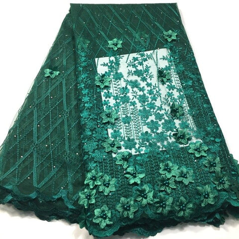 Image of 3D Lace Fabric African Lace Fabric 2019 High Quality Lace with Bead Swiss Mesh French Tulle Nigerian Lace Fabric for Dress M3542