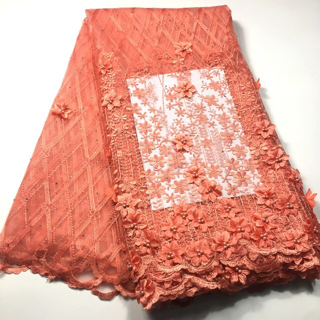 3D Lace Fabric African Lace Fabric 2019 High Quality Lace with Bead Swiss Mesh French Tulle Nigerian Lace Fabric for Dress M3542