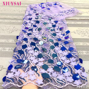 3D Lace Fabric Purple African Lace Fabric Net 2020 French Lace Fabric Tulle With Sequins Nigerian Lace Fabric For Wedding Dress