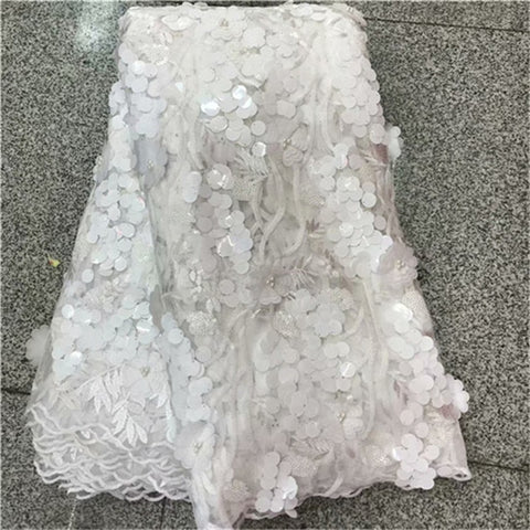 Image of 3d Lace Fabric High Quality African Tulle Lace Fabric Appliqued sequins Beaded Lace Fabric For Nigerian Wedding Dress Pink
