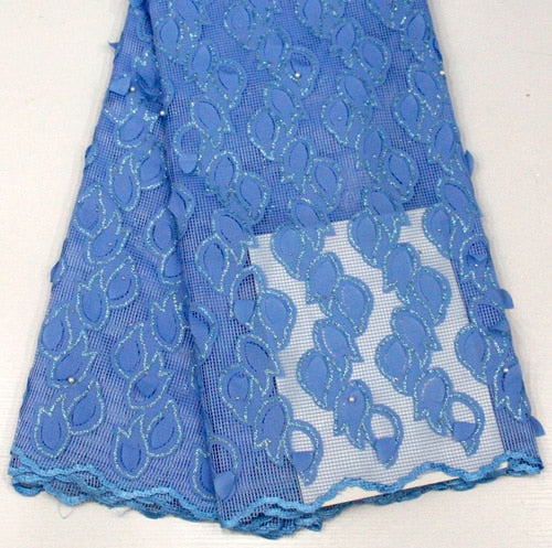 3d applique Nigerian Lace Fabric 2018 High Quality Lace African Lace Fabric With Beads Embroidery French Lace Fabric