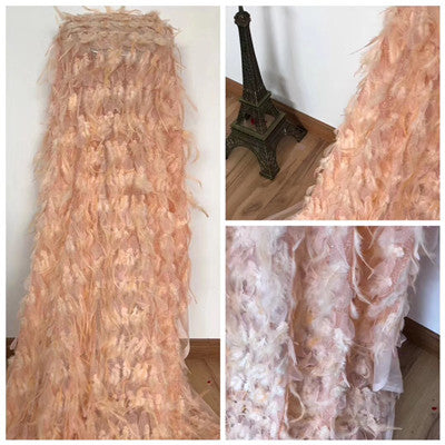 Image of 3d flower feather African French net fabric embroidery cord lace fabric top grade tulle lace for bridal dress