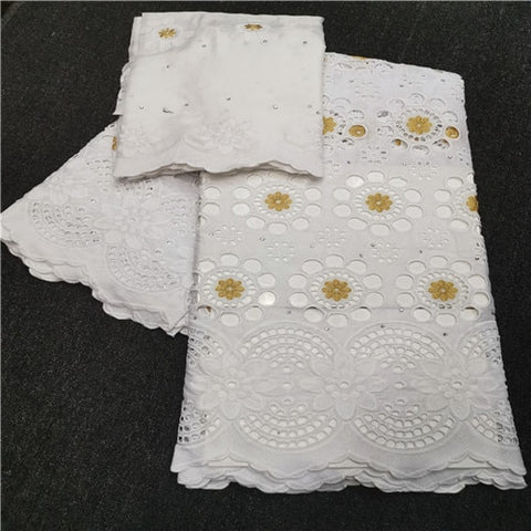 Image of 5 Y Swiss lace fabric 2019 Dubai heavy beaded embroidery African lace fabrics 100% cotton Swiss voile lace in Switzerland HL083