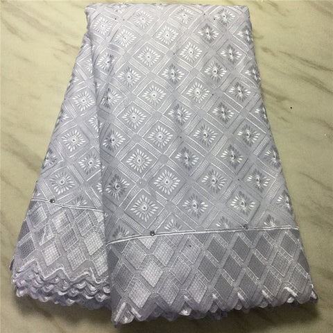 Image of 5 Y Swiss lace fabric 2020 heavy beaded embroidery African lace fabrics 100% cotton fabric Swiss voile lace in Switzerland PL071