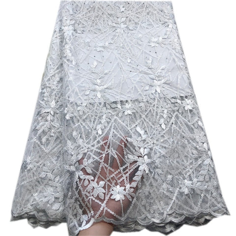 Image of 5 Yards Holed Sequins Embroidery Double French Lace Unique  Beaded African Tulle Lace Mesh Fabric Gold Nigerian Wedding Lace