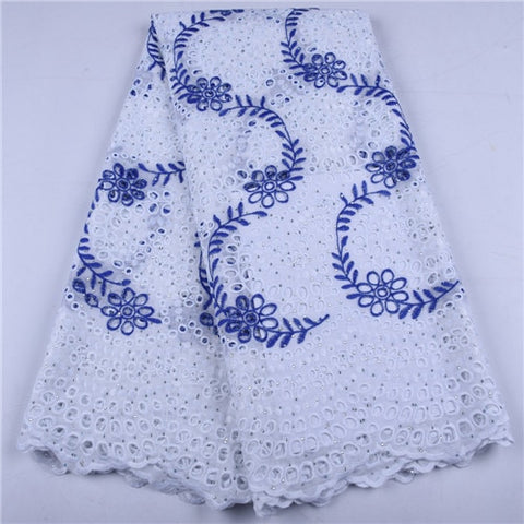 Image of 5 Yards White African Dry Lace Fabric High Quality Lace Swiss Voile Lace Switzerland Nigerian Cotton Lace For Wedding Party 1657