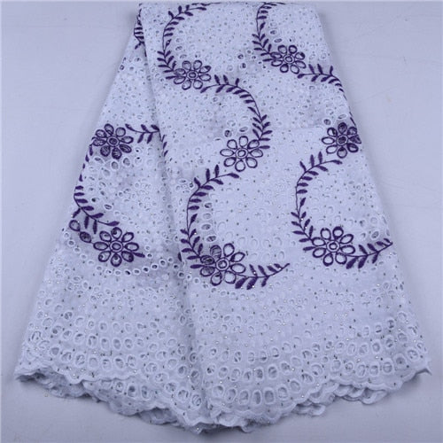 5 Yards White African Dry Lace Fabric High Quality Lace Swiss Voile Lace Switzerland Nigerian Cotton Lace For Wedding Party 1657