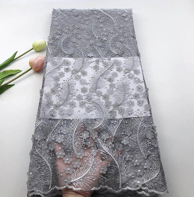 5 Yards/pc Most popular Dark Purple french net lace fabric with 3D  flower decoration african mesh lace for dress